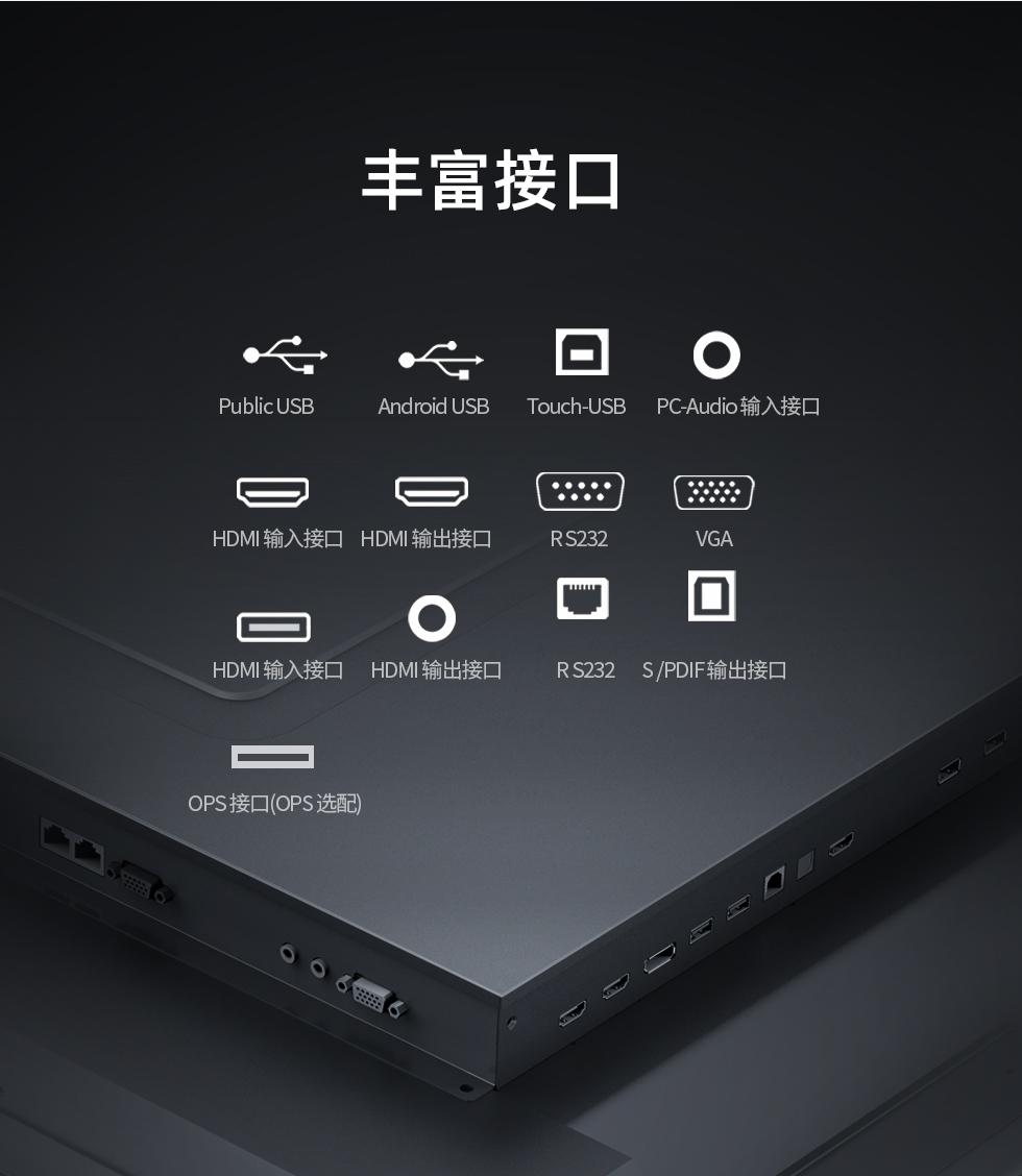 博亚体育博亚体育丰富前置接口 HDMI OPS VGA USB
